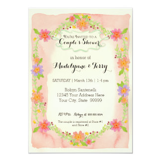 Watercolor Modern Painterly Floral Couples Shower Card