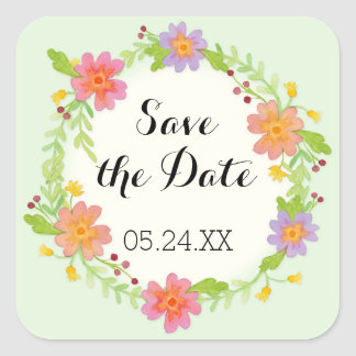 Watercolor Modern Painterly Floral Save the Date Square Sticker