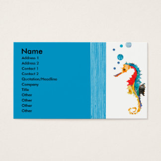 Watercolor Modern Sea horse Blowing Bubbles Business Card