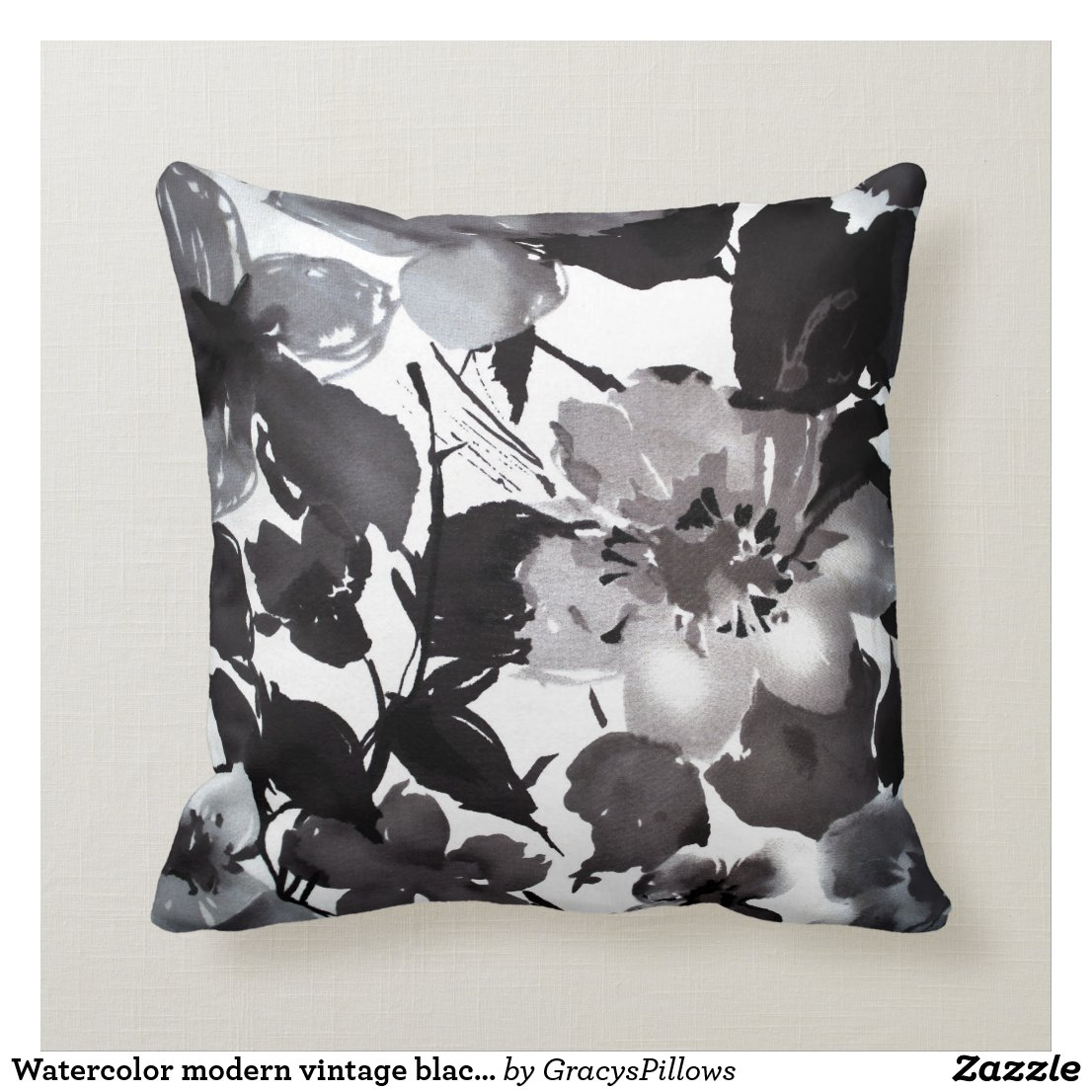Watercolor lack white floral throw pillow