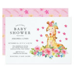 Watercolor Mom Baby Giraffe Baby Girl Shower Invitation