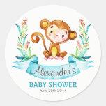 Watercolor Monkey Boy Baby Shower Classic Round Sticker