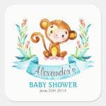 Watercolor Monkey Boy Baby Shower Square Sticker