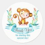 Watercolor Monkey Boy Thank You Classic Round Sticker