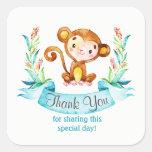 Watercolor Monkey Boy Thank You Square Sticker