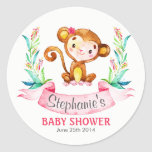 Watercolor Monkey Girl Baby Shower Classic Round Sticker