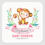 Watercolor Monkey Girl Baby Shower Square Sticker