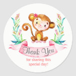 Watercolor Monkey Girl Thank You Classic Round Sticker