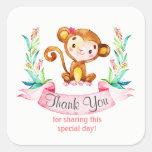 Watercolor Monkey Girl Thank You Square Sticker