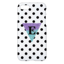 Watercolor Monogram B/W Polka Dot iPhone 7 Case