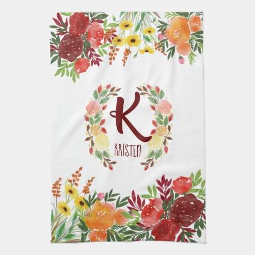 Watercolor Monogram Flower Rose Wreath Handpainted Hand Towel
