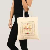 Watercolor Monogram Green and Gold Typography Tote Bag