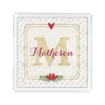 Watercolor Monogram Red and Gold Typography Acrylic Tray