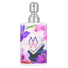 Watercolor Monogram Saffron and Orchid Flowers Zen Soap Dispenser And Toothbrush Holder