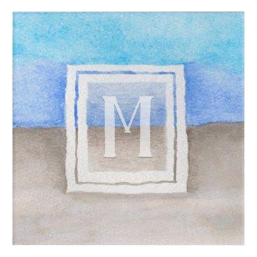 Beach Themed Watercolor Monogram Sea & Sand Blue and Tan Acrylic Print