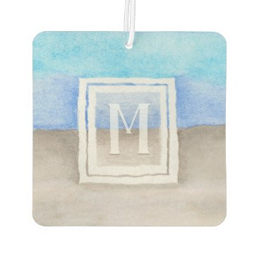 Beach Themed Watercolor Monogram Sea & Sand Blue and Tan Car Air Freshener