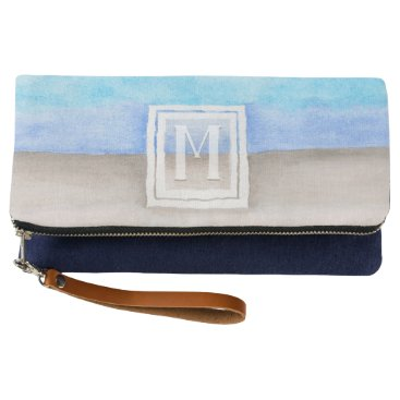 Beach Themed Watercolor Monogram Sea & Sand Blue and Tan Clutch
