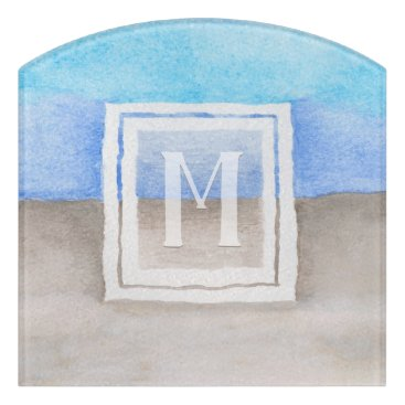 Beach Themed Watercolor Monogram Sea & Sand Blue and Tan Door Sign