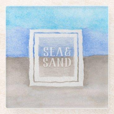 Beach Themed Watercolor Monogram Sea & Sand Blue and Tan Glass Coaster