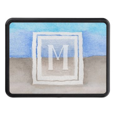 Beach Themed Watercolor Monogram Sea & Sand Blue and Tan Hitch Cover