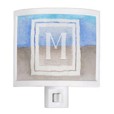 Beach Themed Watercolor Monogram Sea & Sand Blue and Tan Night Light