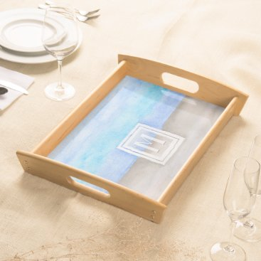 Beach Themed Watercolor Monogram Sea & Sand Blue and Tan Serving Tray