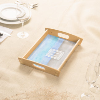 Watercolor Monogram Sea & Sand Blue and Tan Serving Tray