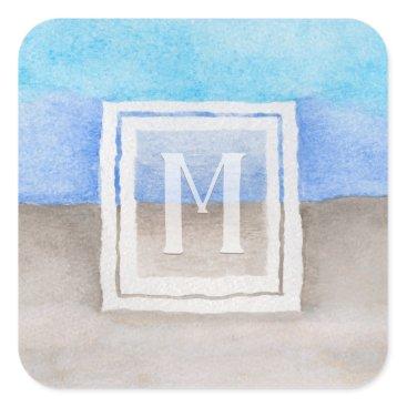 Beach Themed Watercolor Monogram Sea & Sand Blue and Tan Square Sticker
