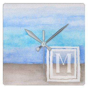 Beach Themed Watercolor Monogram Sea & Sand Blue and Tan Square Wall Clock