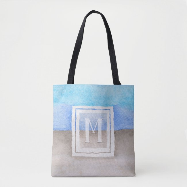 Watercolor Monogram Sea & Sand Blue and Tan