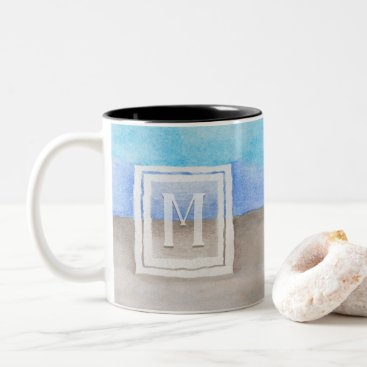 Beach Themed Watercolor Monogram Sea & Sand Blue and Tan Two-Tone Coffee Mug