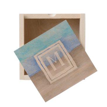 Beach Themed Watercolor Monogram Sea & Sand Blue and Tan Wooden Keepsake Box