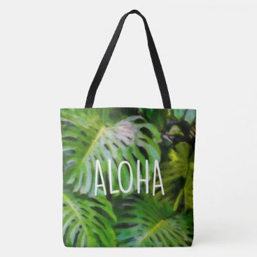 Beach Themed Watercolor Monstera Aloha Hawaiian Beach Bag