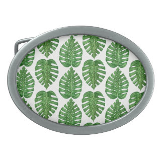 Watercolor Monstera Leaves Belt Buckle
