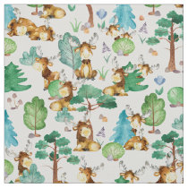 Watercolor Moose On the Loose In the Woods Fabric