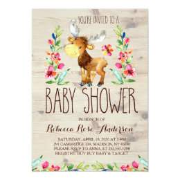 Watercolor Moose Woodland Baby Shower Invitation