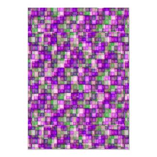 Watercolor Mosaic Squares Fuschia & Green Card