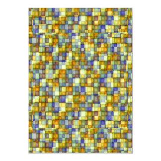 Watercolor Mosaic Squares Gold & Blue Card