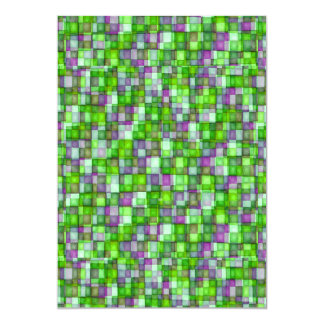 Watercolor Mosaic Squares Green and Lavender Card