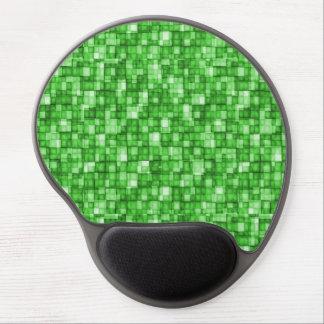 Watercolor Mosaic Squares Green Gel Mousepads