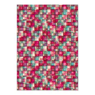 Watercolor Mosaic Squares Red & Sage Green Card