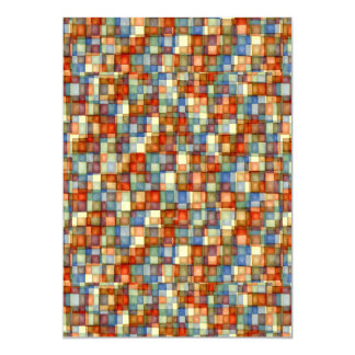 Watercolor Mosaic Squares Rust and Blue Card