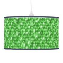 Watercolor Mosaic Squares Shades of Emerald Green Ceiling Lamp