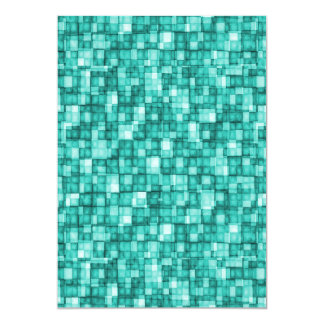 Watercolor Mosaic Squares Turquoise Card