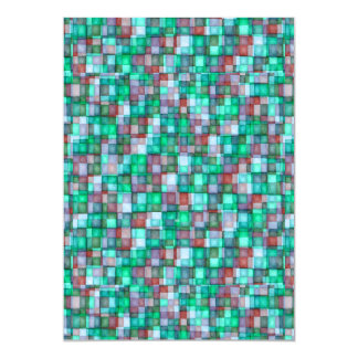 Watercolor Mosaic Squares Turquoise, Green & Plum Card