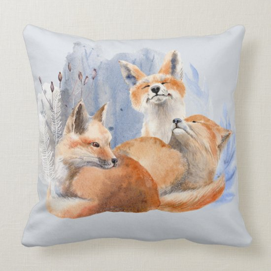 Watercolor Mother Fox and Babies Throw Pillow