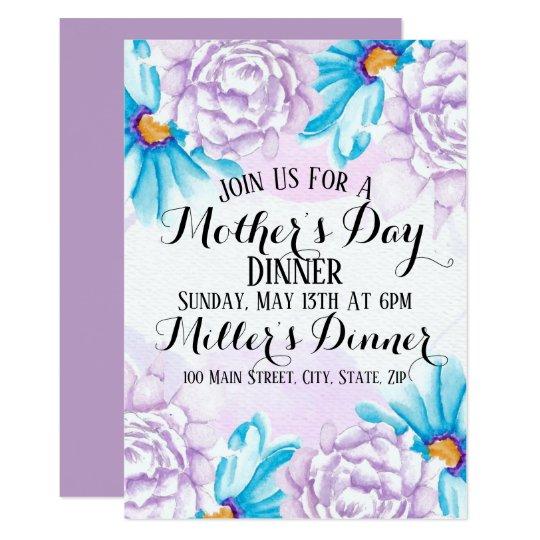 watercolor mother s day dinner invitation card zazzle com
