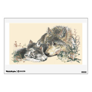Watercolor Mother Wolf & Cub Animal Art Wall Sticker