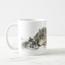 Watercolor Mother Wolf & Cubs Animal Art Coffee Mug