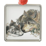 Watercolor Mother Wolf & Cubs Animal Art Metal Ornament
